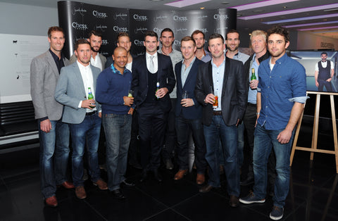 Chess London James Anderson Collection launch event - James Anderson with his Lancashire CCC team mates