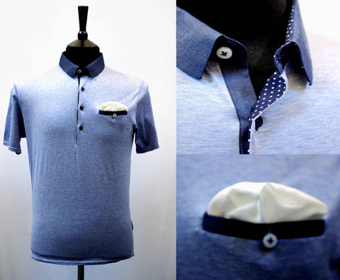 Dean Light blue polo shirt with navy collar