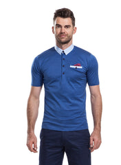 Reedley Blue polo shirt with optional silk pocket square