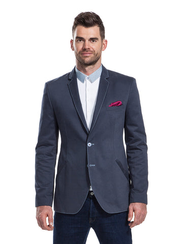 Rydal graphite blazer with silk cherry coloured pocket square