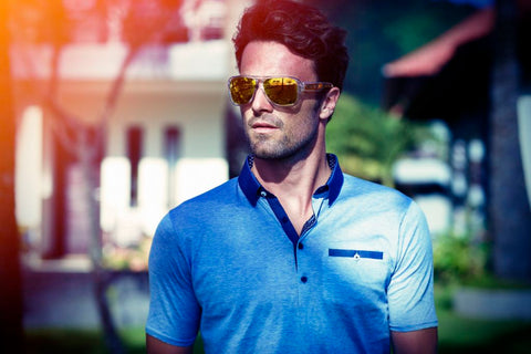 Dean Light Blue cotton polo shirt with contrast collar and bone pocket