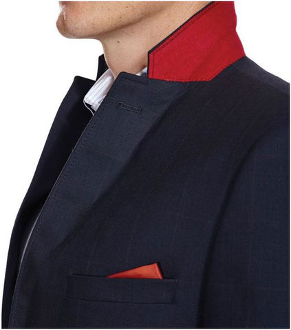 Navy Blazer with red check and detail
