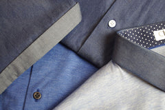 Blue hues in t-shirts, blazers, shirts and polos