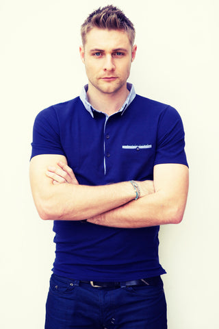 Luke Wright in a Chess London athletic slim fit navy polo