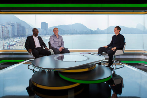 Dan Walker with Neil Lennon and Clarence Seedorf