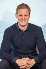 Dan Walker wears the Lloyd navy top from the James Anderson Collection