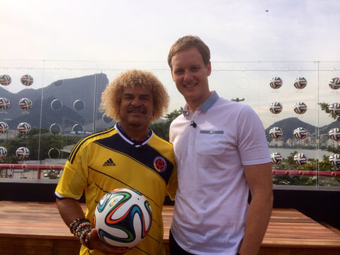 Dan Walker and Carlos Valderrama at the World Cup in Brazil