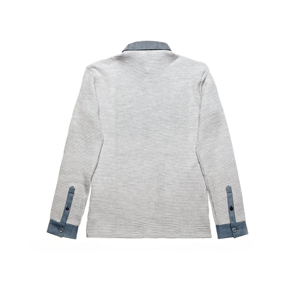 light grey slim fit waffle long sleeve top with suede collar and cuffs