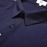 long sleeve slim fit navy polo with deep 4 button collar