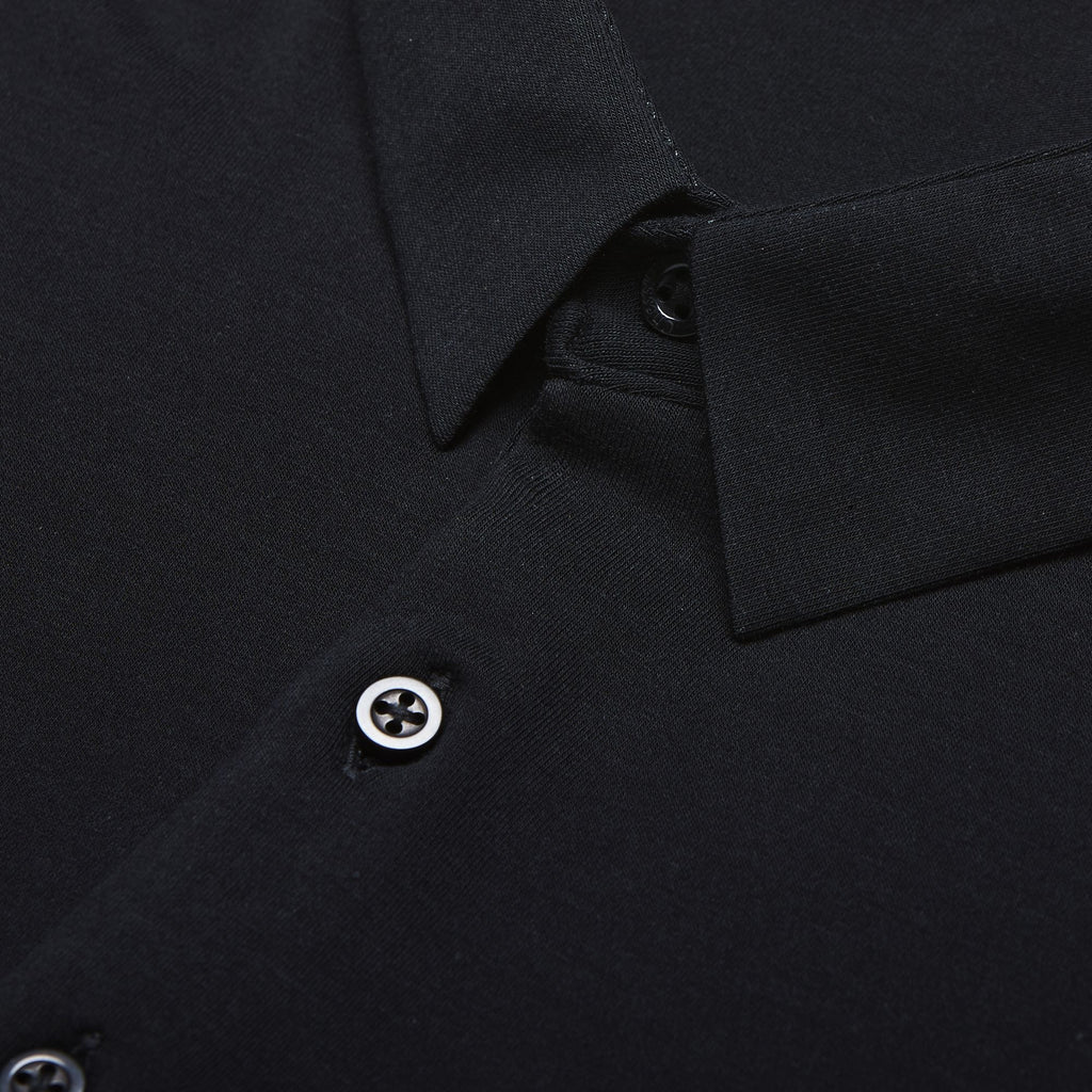 short sleeve slim fit black polo with deep 4 button collar