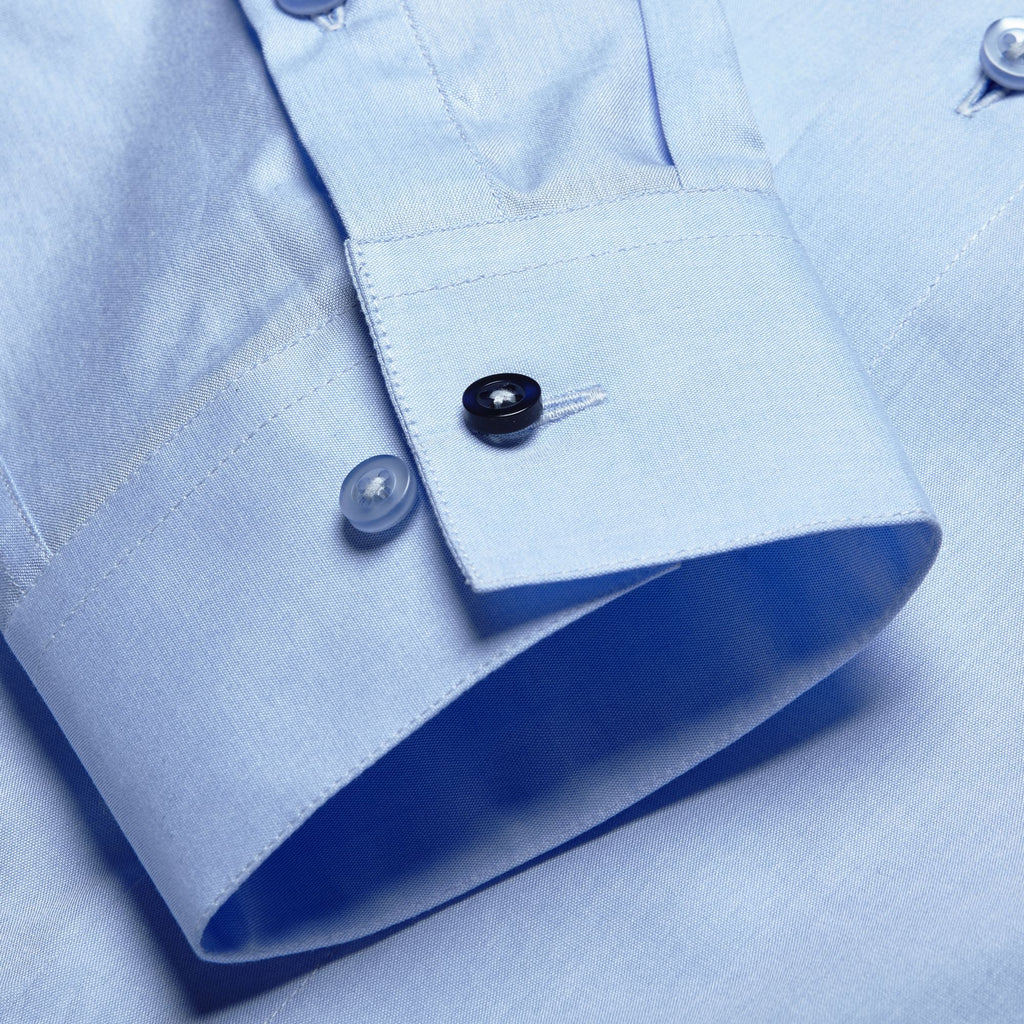 sky blue athletic slim-fit shirt with classic kent collar