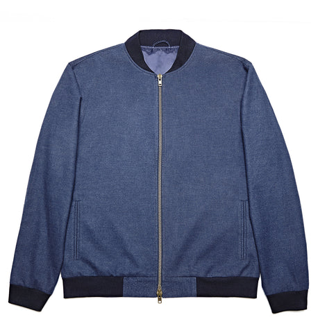 Blue Wool Luxe Bomber