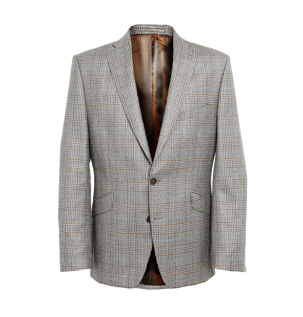 Brown and blue check grey mens blazer