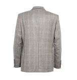 Brown and blue check grey blazer