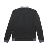 black microfibre bomber jacket with grey collar and cuffs
