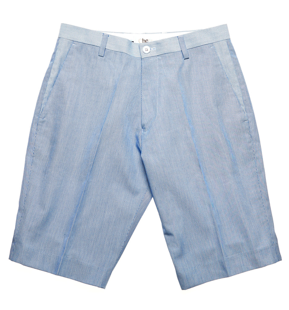 light blue shorts with contrast lining and double button opening