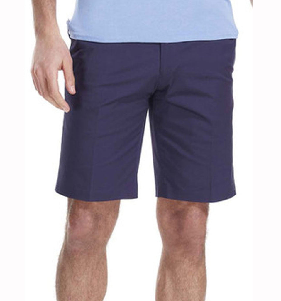 navy smart shorts with contrast lining and double button opening