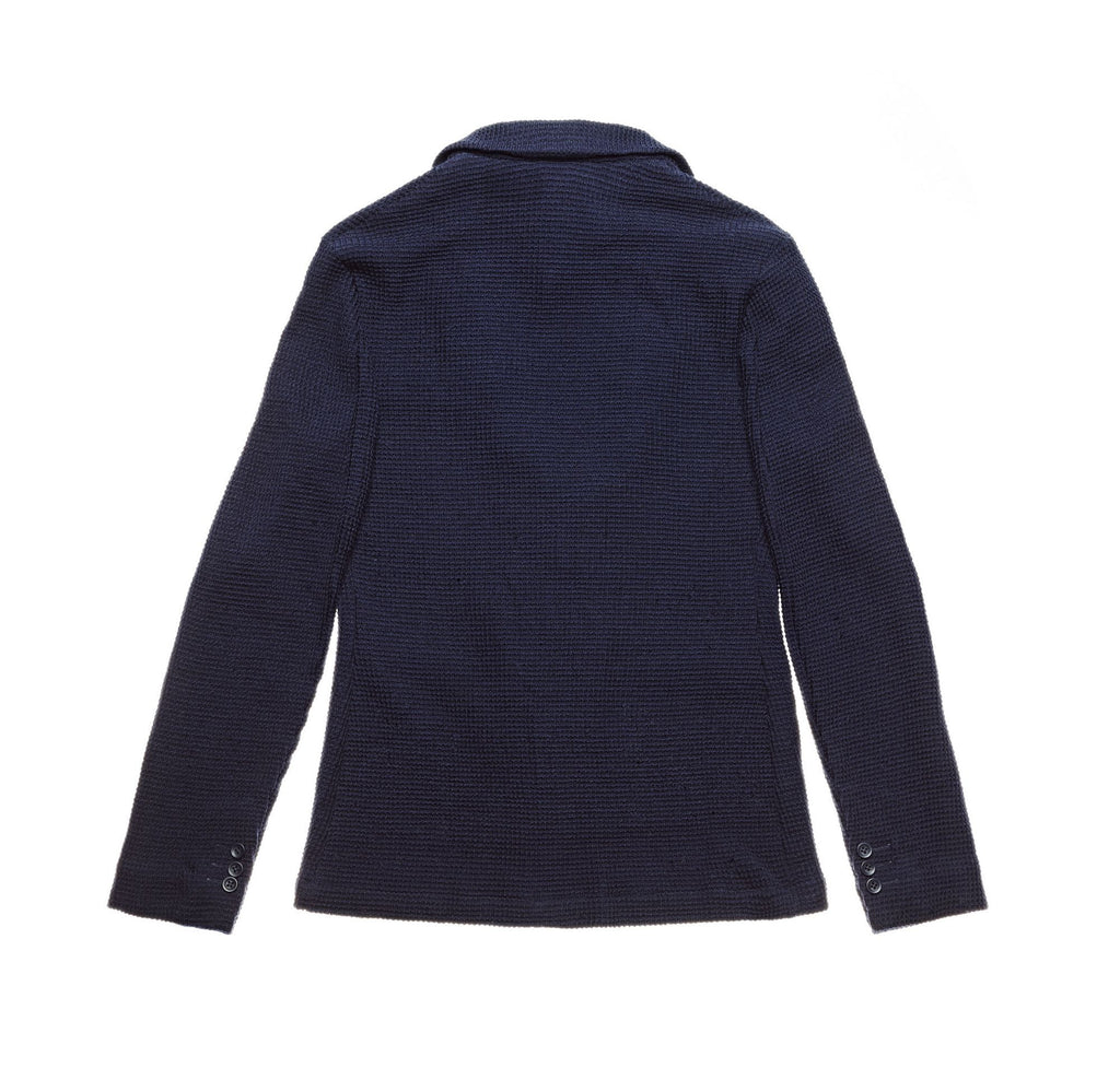 Royce Navy Blue Waffle Knitted Cardigan