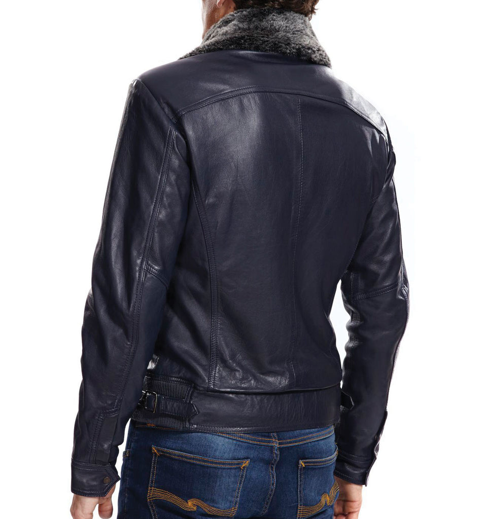 Jonesy Navy Leather Jacket