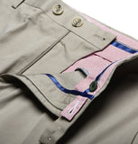 beige smart shorts with contrast lining and double button opening