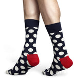 Navy and White Big Dot Mens Happy Socks