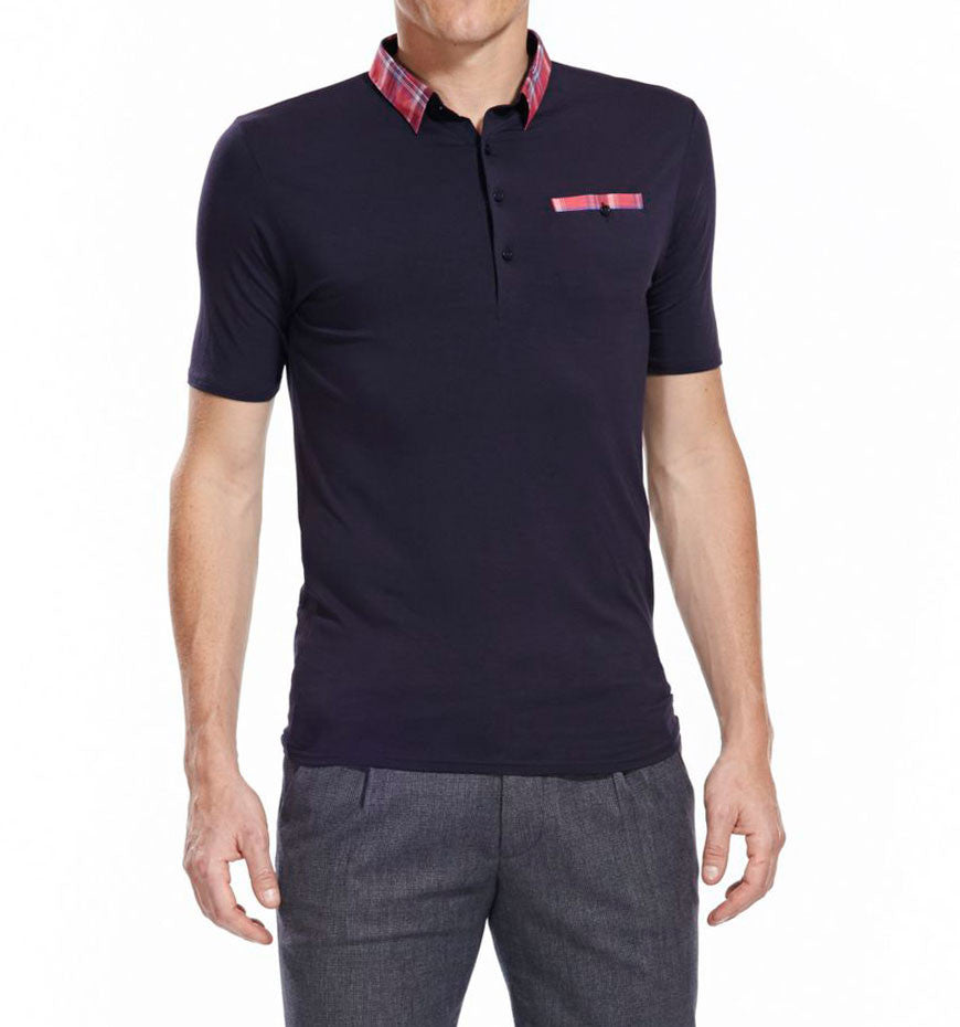 short sleeve slim fit navy polo with red check collar