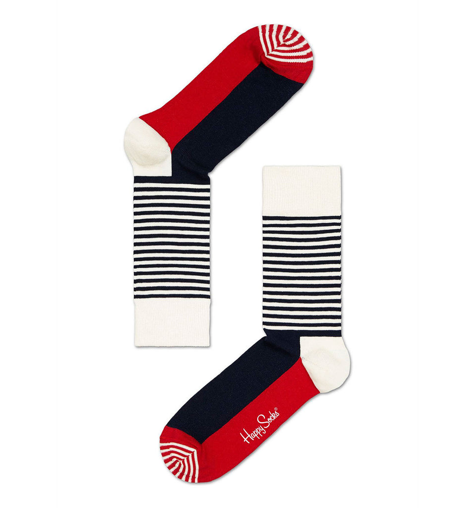 Red, White and Navy Stripe Happy Socks