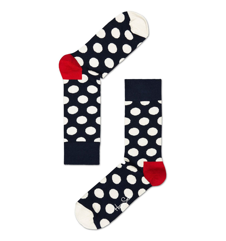 Navy and White Big Dot Happy Socks