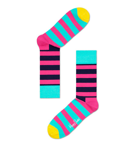 Navy, Pink & Turquoise Stripe Happy Socks