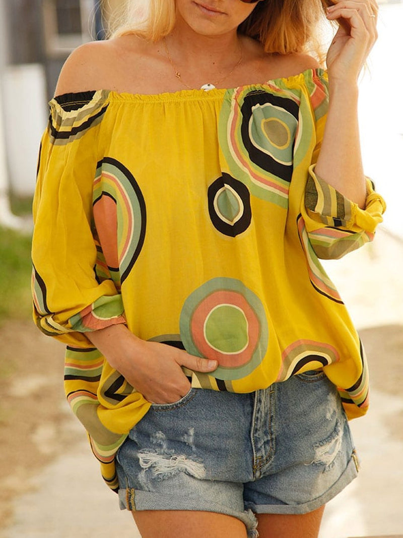 Yellow Casual Patchwork Shirts & Tops