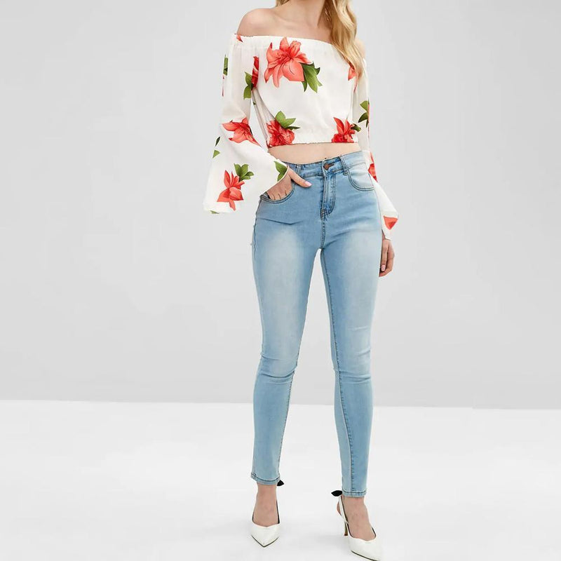Flare Sleeve Off Shoulder Floral Blouse - PAPA BEAR HOME