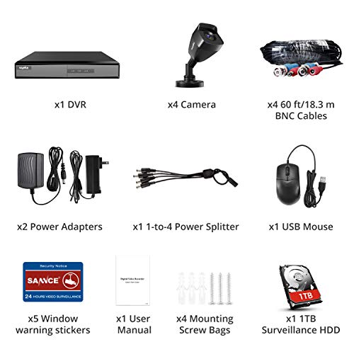 4 Camera 4 Channel 1080p DVR Security System with 1 TB HDD