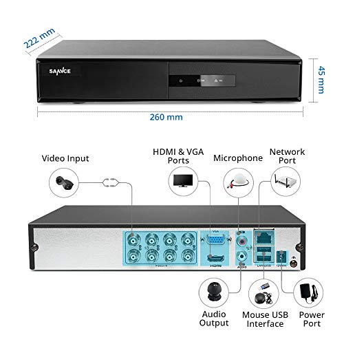 8 Channel HD 1080P Lite DVR Recorder with 1TB Hard Disk Drive