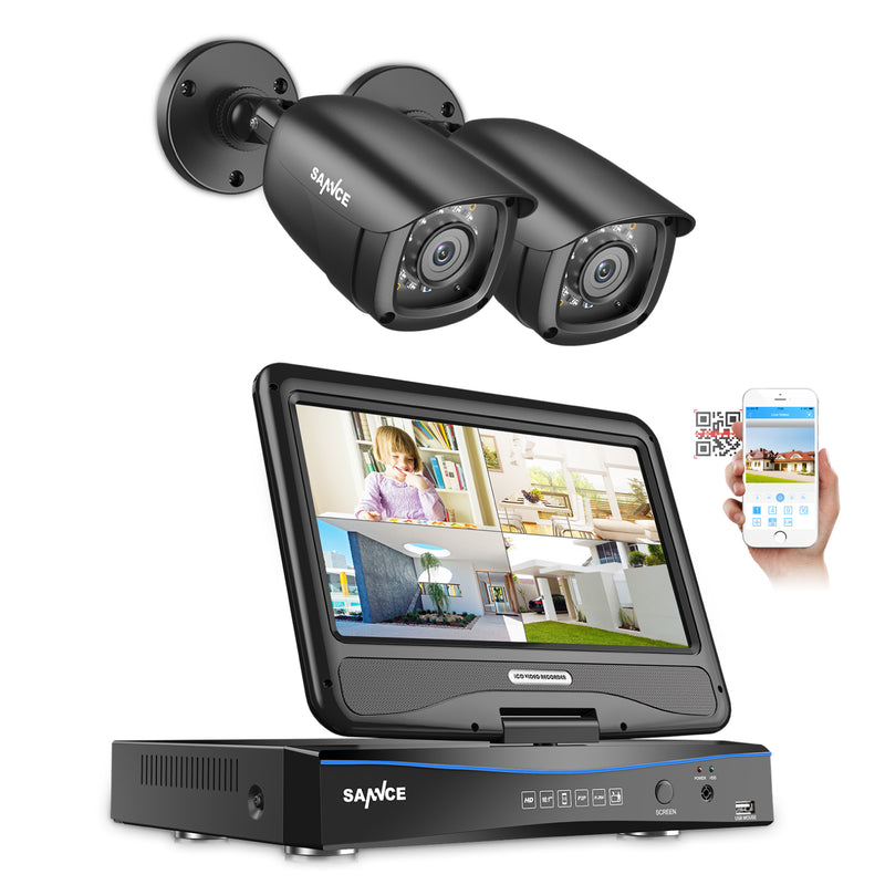 SANNCE 1080P Video Monitoring System with 10.1'' LCD Combo DVR