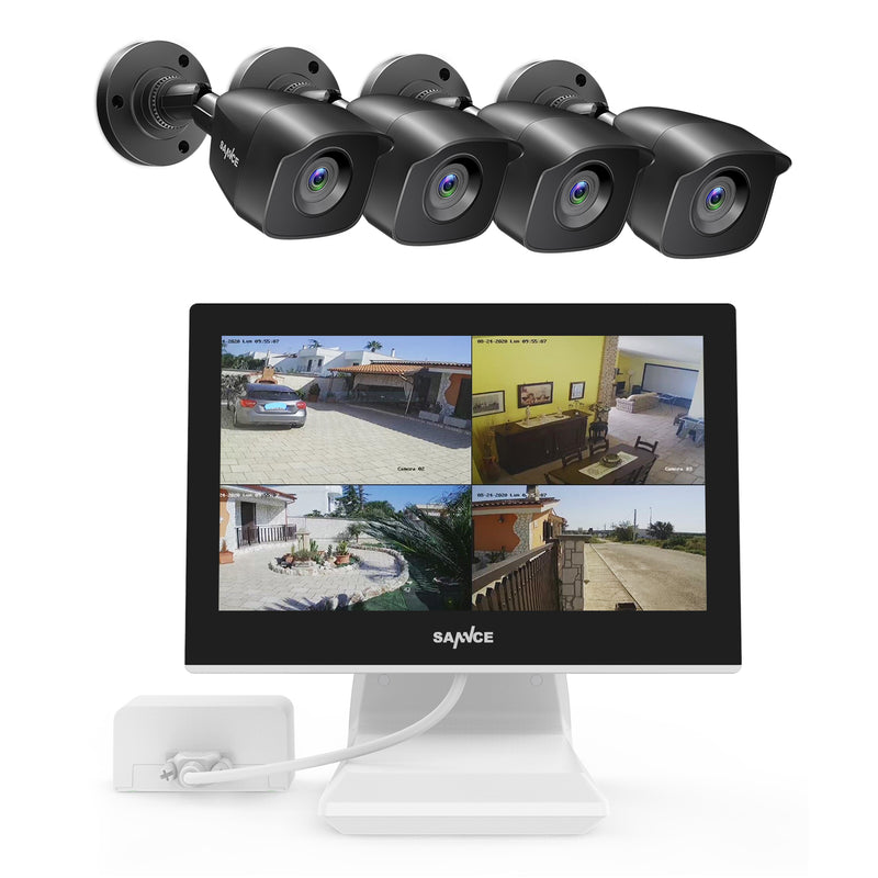 4 Channel 4 Camera DVR Security Camera System with 10.1'' LCD Monitor