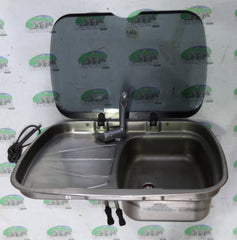 Spinflo Argent sink & drainer with fold down tap