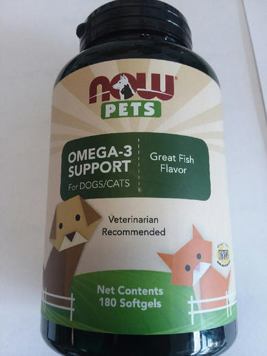 Now Pets Omega-3 Support 180 Count Softgels