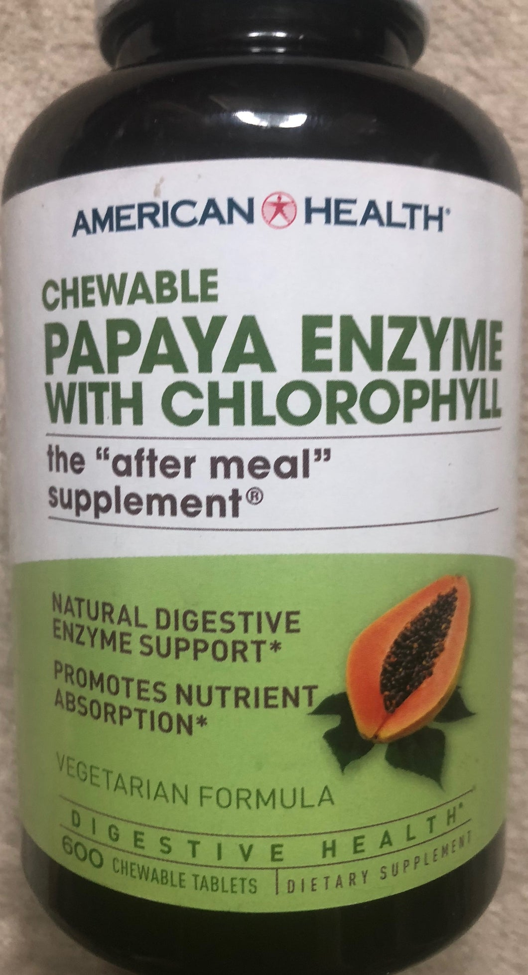 American Health Papaya Enzyme With Chlorophyll 600 chewable tablets