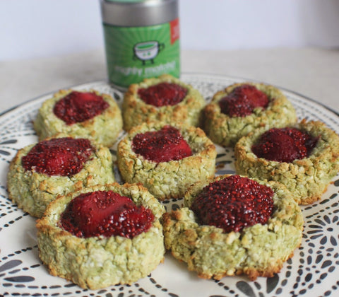 MATCHA, COCONUT & JAM THUMBPRINT COOKIES