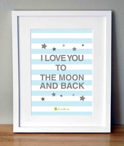 Plakat med citat - I love you to the moon and back