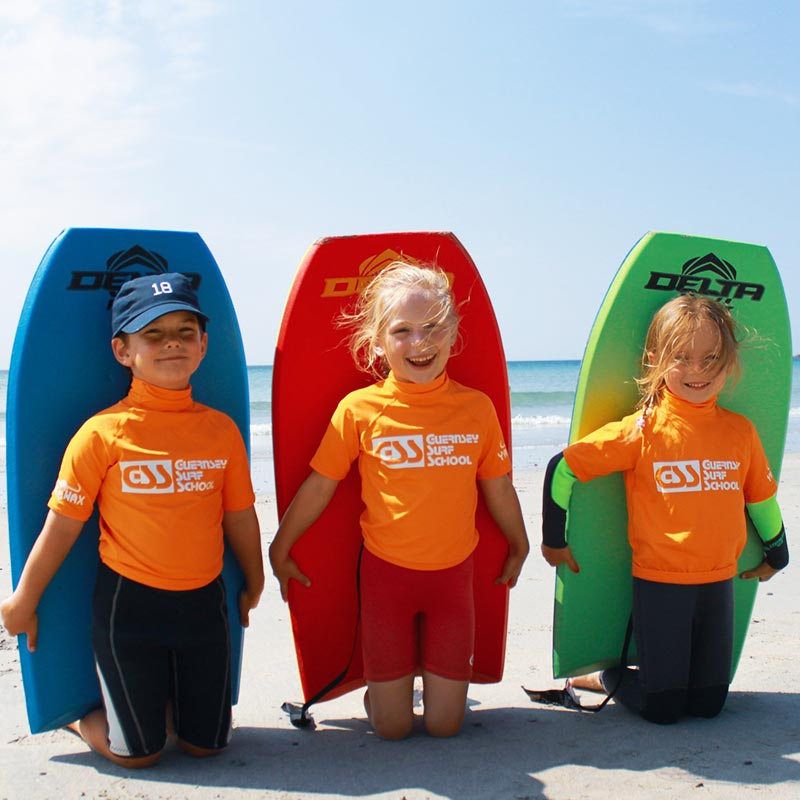 groms camp and courses for 4-6 year olds lessons Guernsey surf school