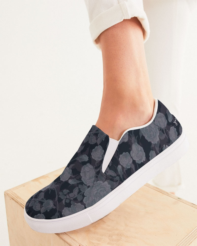 Dark Rose Ghosted Double Pattern Women's Slip-On Canvas Shoe