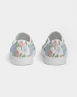 Peony Original on White Slip On Canvas Shoe