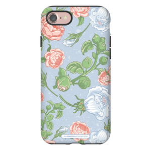 Peony Rose Light Blue iPhone Cases
