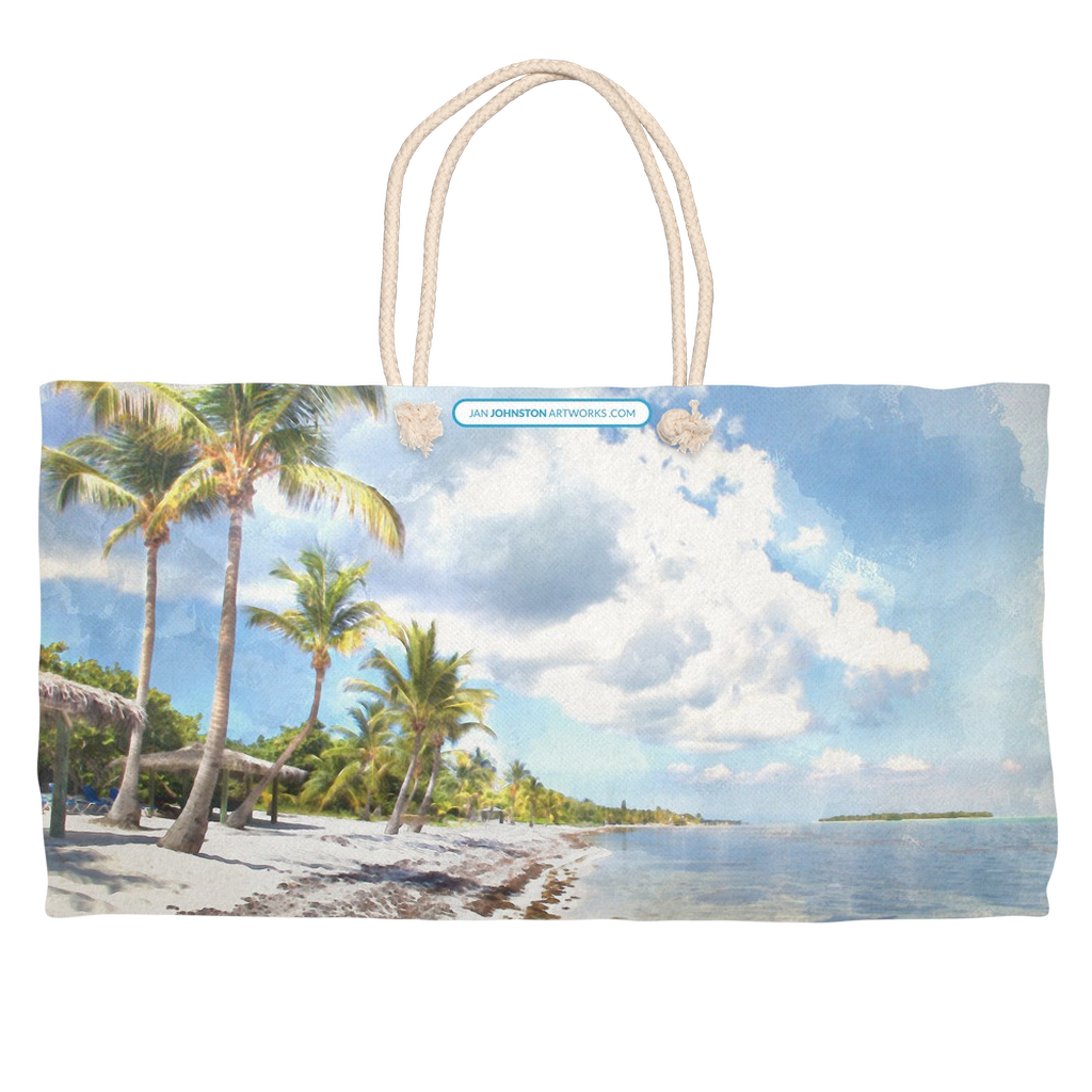 Little Cayman South Beach Watercolor Weekender Rope Tote