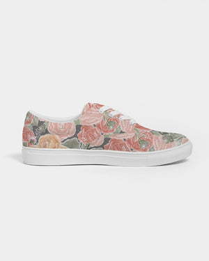 Peony Watercolor Lace Up Canvas Shoe
