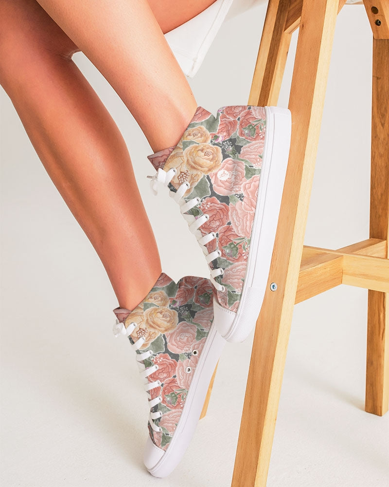 Peony Watercolor High Top Canvas Shoe