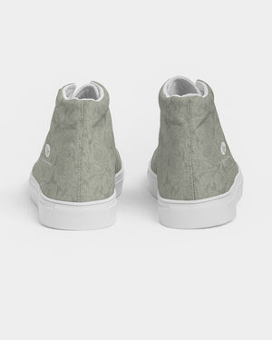 Bunched Roses in Sage Pattern Women's Hightop Canvas Shoe