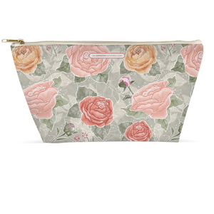 Peony Watercolor Green Accessory Pouches