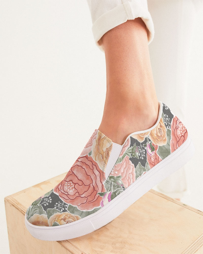 Peony Watercolor Slip On Canvas Shoe
